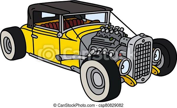 The funny yellow hotrod - csp80829082