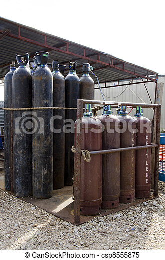 The gas cylinders storage at the work site. - csp8555875
