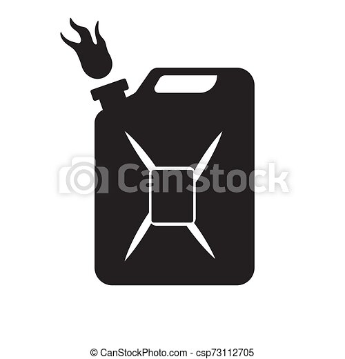 The gasoline canister icon is black on an isolated white background. Vector image - csp73112705