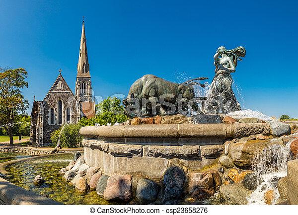 The Gefion fountain in Copenhagen - csp23658276