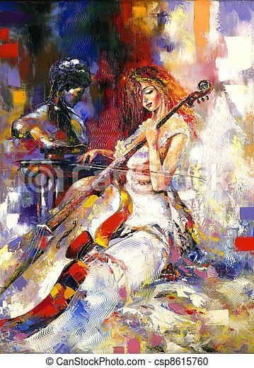 The girl and a violoncello - csp8615760