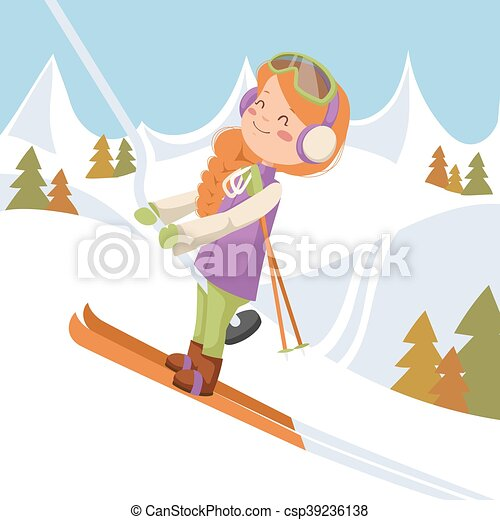 The girl climbs on the lift up the mountain. - csp39236138