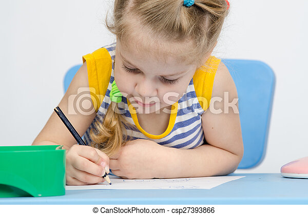 The girl draws pencil concentration - csp27393866
