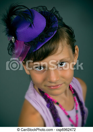 The girl in a beautiful hat - csp6962472