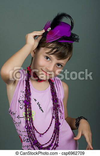 The girl in a beautiful hat - csp6962709