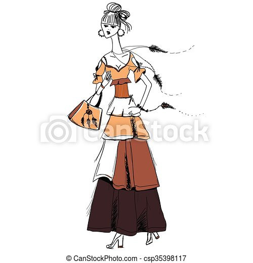 The girl in Gypsy dress. Boho style.  Linear pattern on a white background.  For t-shirts print, phone case, posters, bag print, cup print, girls diary or notepad cover .Line drawing festive. Vector drawing. - csp35398117