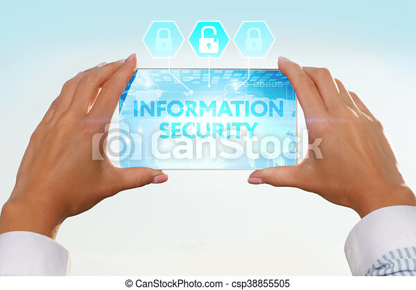 The girl looks at a virtual screen of your smartphone. Text information security. - csp38855505