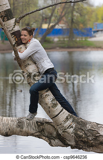 the girl on a birch - csp9646236