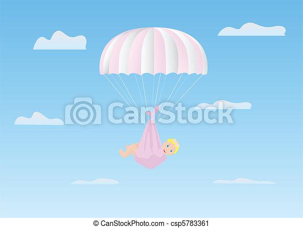 The girl on a parachute - csp5783361