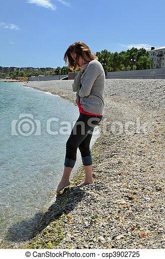 The girl on coast - csp3902725