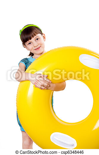 The girl with a rubber ring - csp6348446