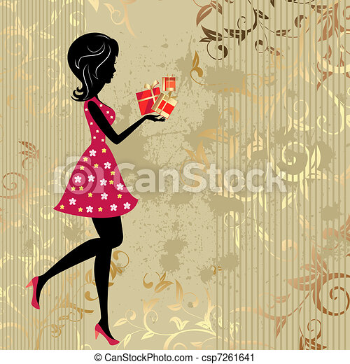 The girl with presents on a gold background citizens - csp7261641