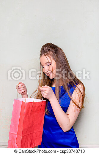 the girl with purchases - csp33748710