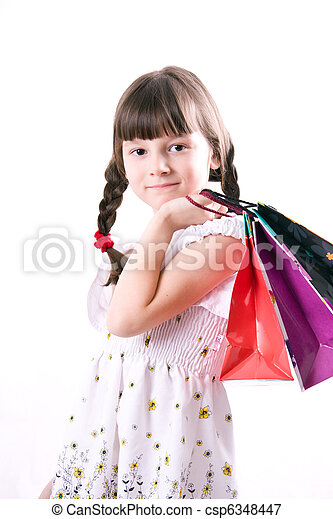 The girl with purchases - csp6348447