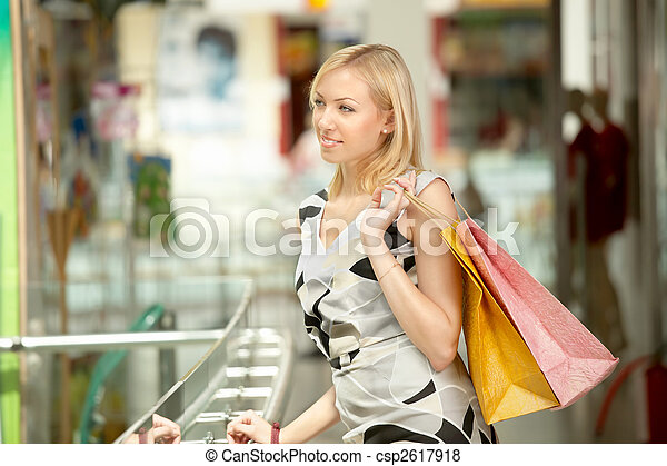 The girl with purchases - csp2617918