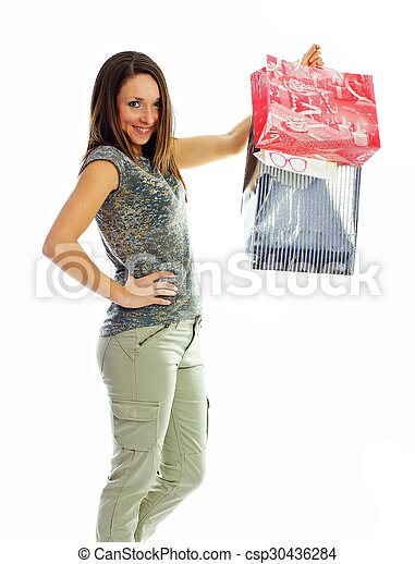 the girl with purchases - csp30436284