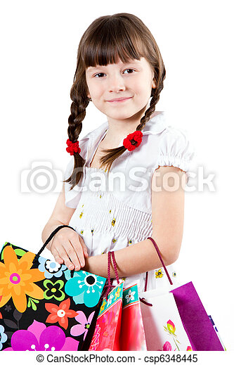 The girl with purchases - csp6348445