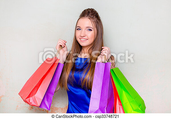 the girl with purchases - csp33748721