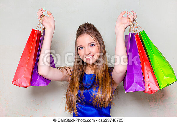 the girl with purchases - csp33748725