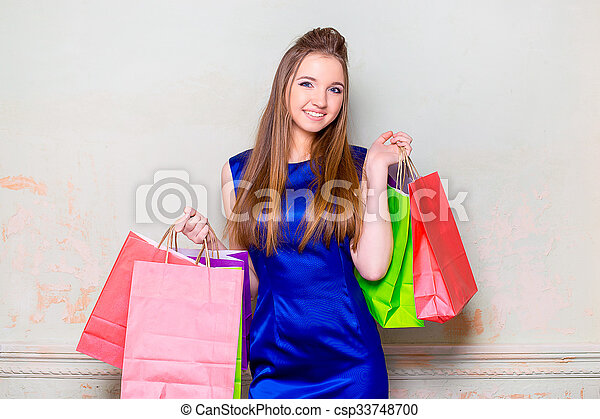 the girl with purchases - csp33748700
