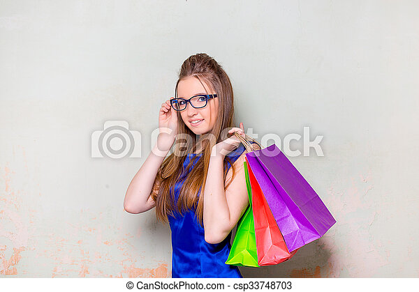 the girl with purchases - csp33748703