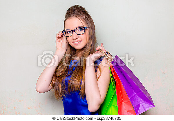 the girl with purchases - csp33748705