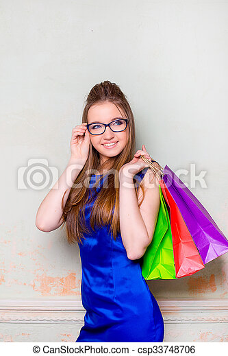 the girl with purchases - csp33748706