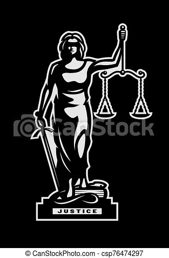 The goddess of justice Themis symbol, logo on a dark background. Vector illustration. - csp76474297