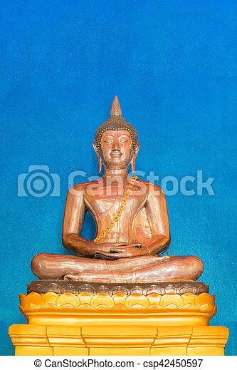 The Golden Buddha attitude of meditation. - csp42450597