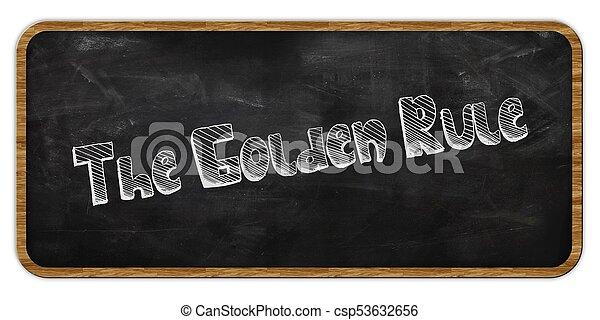 THE GOLDEN RULE written in chalk on blackboard. Wood frame. - csp53632656