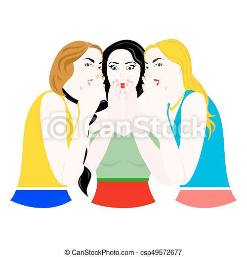 The gossip girls. Illustration with a womans on the theme ...