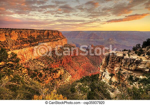 The Grand Canyon in Arizona, at sunset - csp35937920