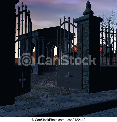 the graveyard gated graveyard at sunset with clip art