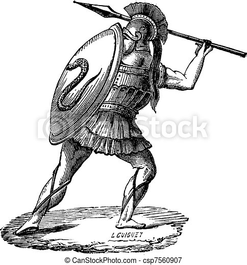 The Greek soldier with his armor vintage engraving - csp7560907