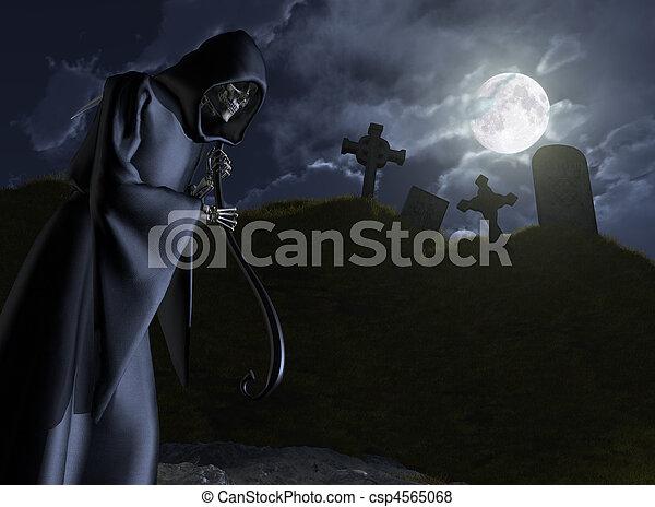 The Grim Reaper Stalks a Cemetery - csp4565068