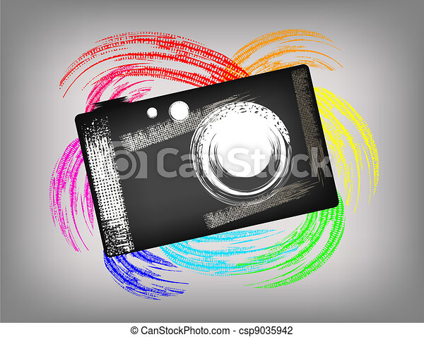 Grunge Camera Vector : The grunge camera on a beautiful background
