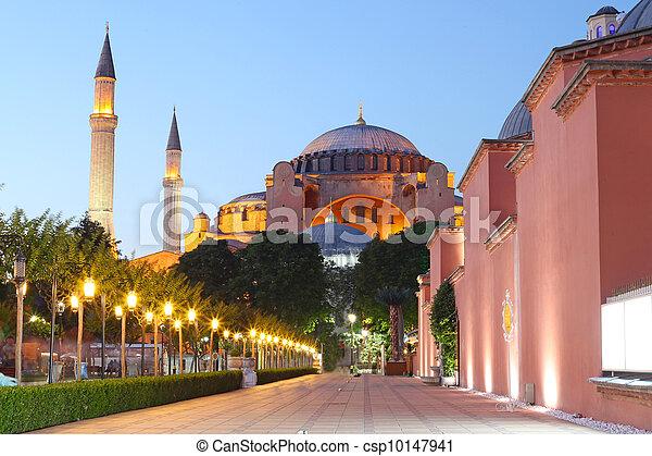 The Hagia Sophia at night, Istanbul, Turkey  - csp10147941