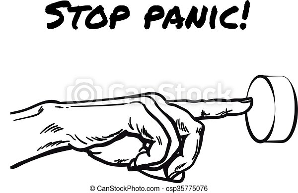 The Hand Presses The Stop Panic Button Hand Pointing On Button