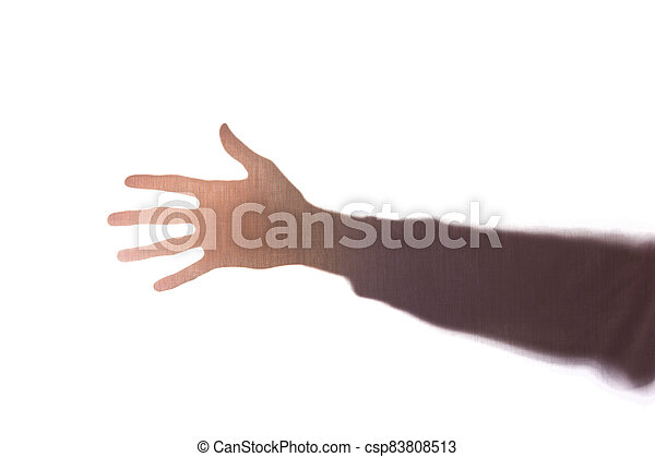 The hand young man with fingers apart, five - silhouette, concept - csp83808513