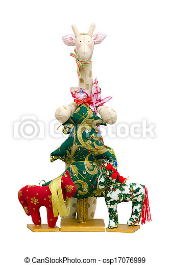 The Handmade soft toy isolated New Year tree and giraffe and two ponys - csp17076999
