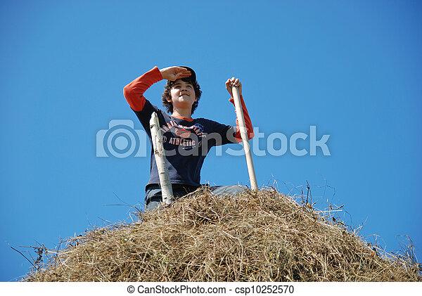 The happy guy on a haystack - csp10252570