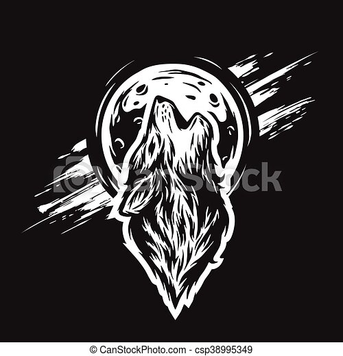The head of a wolf on the moon background. - csp38995349