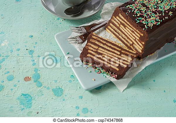 The Hedgehog Slice or Keksmauer cake - csp74347868