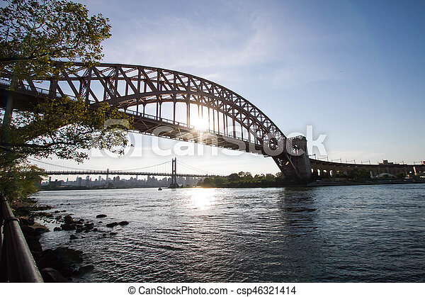 The Hell Gate Bridge And The Triborough Bridge Over The River With