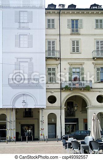 the historic building facade renovation - csp49392557