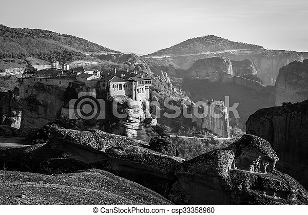 The Holy Monastery of Varlaam, Greece in black and white - csp33358960