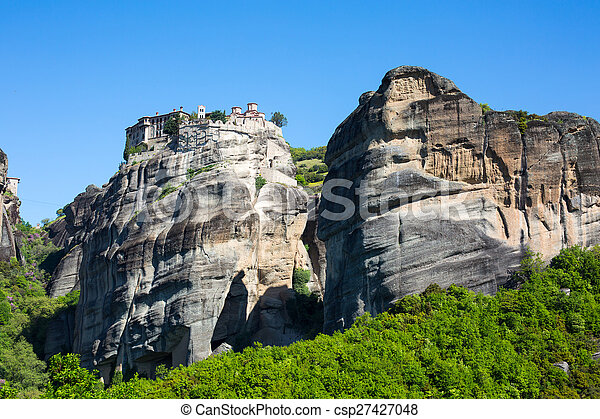 The Holy Monastery of Varlaam on the cliff at Meteora rocks, Greece - csp27427048