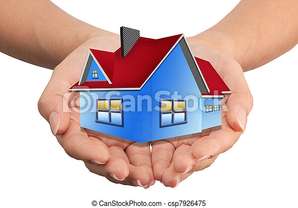 The House in the hands   as a symbol of the real estate business. - csp7926475