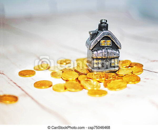 The house stands on a pile of coins, the concept of cash savings, loans. - csp75046468