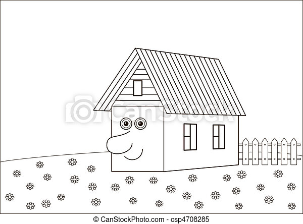 The house with a human face, contours - csp4708285